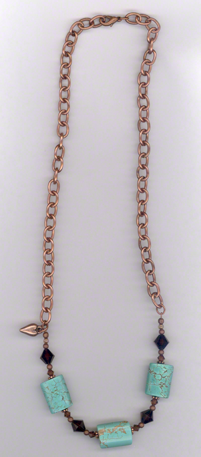 Desert Sky ~ Copper Turquoise Crystal Chain Necklace