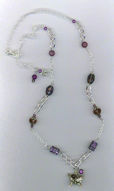 Silver Butterfly ~ Gemstone Crystal Link Necklace