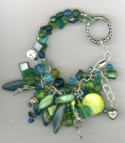 Down By The Sea ~ Chunky Shell Glass Charm Bracelet