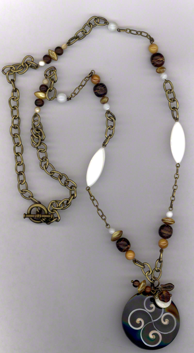 Sand & Shells ~ Pearl Wood Antiqued Gold Chain Necklace