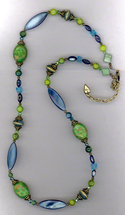 Green Mosaic Turquoise Blue Shell Crystal Necklace