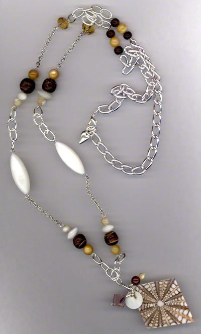 Sand & Shells ~ Pearl Wood Silver Chain Necklace