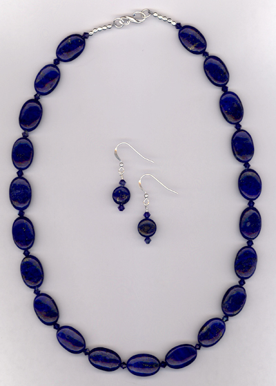 Blue Lapis Lazuli Gemstone Swarovski Crystal Necklace/Earring Set