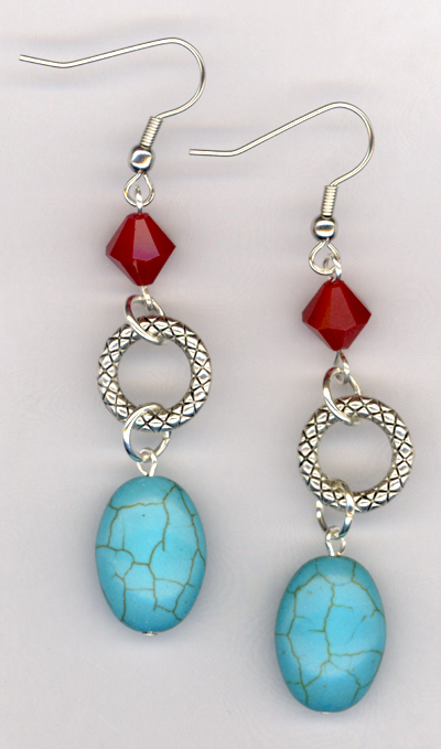 Desert Southwest ~ Turquoise Blue Red Link Earrings
