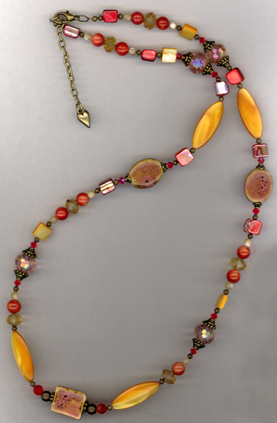 Caliente ~ Orange Shell Crystal Gold Beaded Necklace