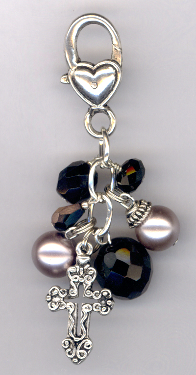 Whimsy Girl ~ Black Crystal Cross Heart Purse/Key Chain