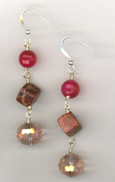 Ruby Slippers ~ Gemstone Crystal Layered Earrings