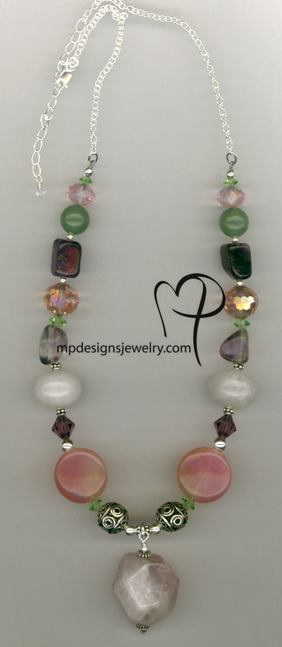 Rhubarb Rose ~ Gemstone Sterling Silver Necklace