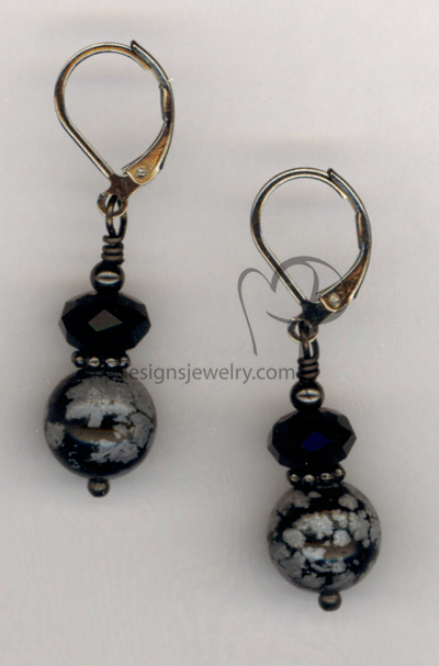 Black Obsidian Gemston Gun Metal Earrings
