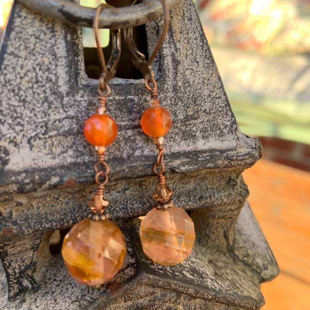 Fall Beauty ~ Carnelian Gemstone  Copper Earrings
