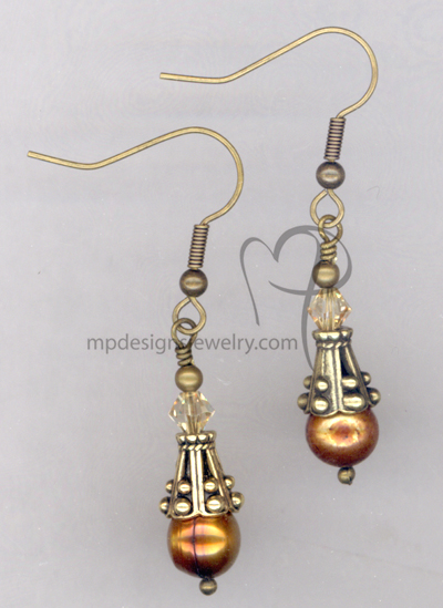 Bronze Pearl Antique Gold  Crystal Earrings