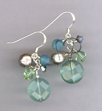 Chalcedony Gemstone Crystal Sterling Silver Earrings