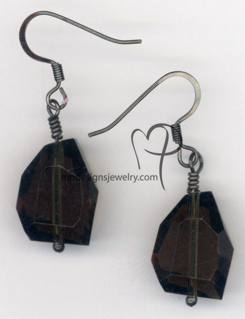 Smokey Topaz Gun Metal Crystal Earrings