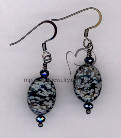 Black Obsidian Gemston Gun Metal Crystal Earrings