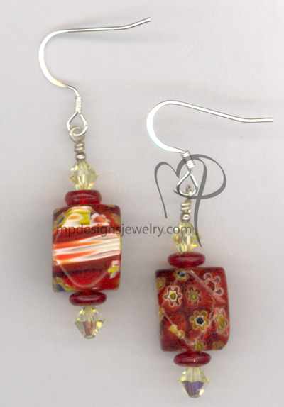 MumsThe Word! ~ Millefiori Swarovski Crystal Earrings