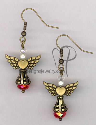 Angels Wings ~ Red Crystal Swaroski Pearl Antiqued Gold Earrings