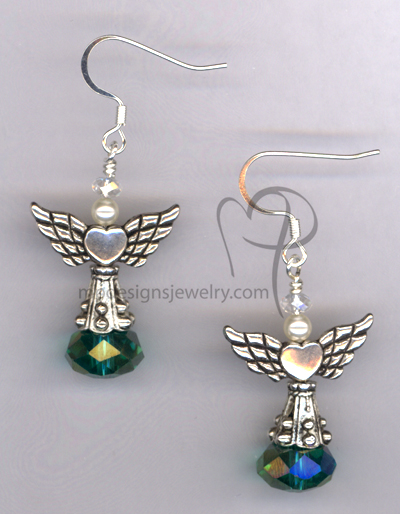 Angels Wings ~ Emerald Green Crystal Swarovski Pearl Silver Earrings