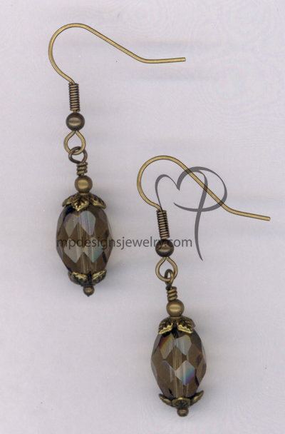 Smokey Topaz Antiqued Gold Crystal Earrings