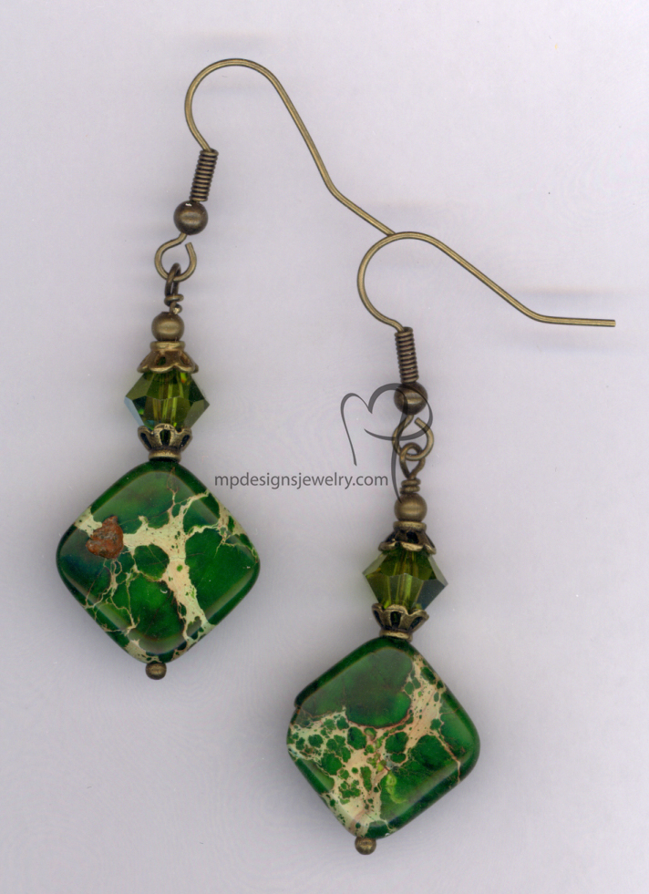 Mossy Meadow ~ Gemstone Swarovski Crystal Antiqued Gold Earrings