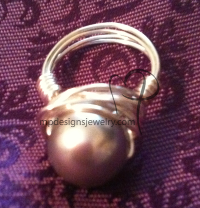 Swarovski Pearl light Grey Wire-wrapped Ring