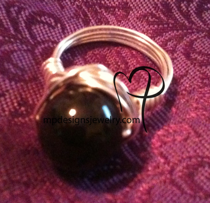 Swarovski Pearl mystic black Wire-wrapped Ring