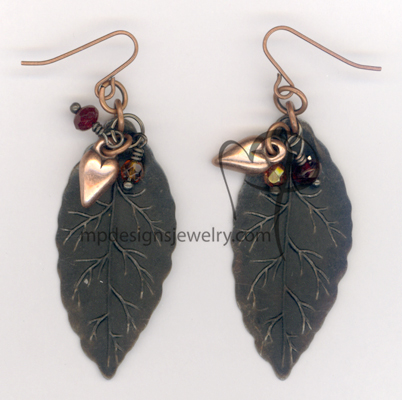 fall in love copper vintaj leaf mixed metal crystal earrings