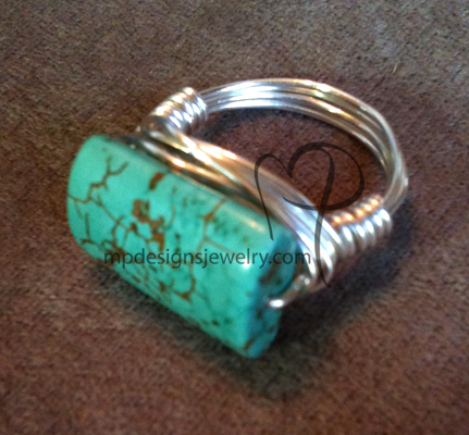 Turquoise Blue Gemstone Silver Wire-wrapped Ring