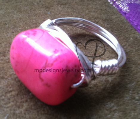 Pink Turquoise Gemstone Silver Wire-wrapped Ring
