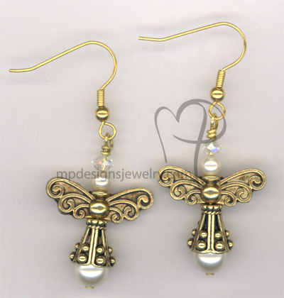 Angels Wings ~ Creamy White Swaroski Crystal Pearl Gold Earrings