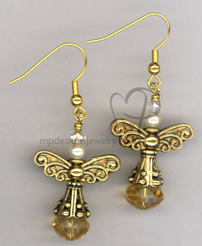 Angels Wings ~ Topaz Crystal Swarovski Pearl  Gold Earrings