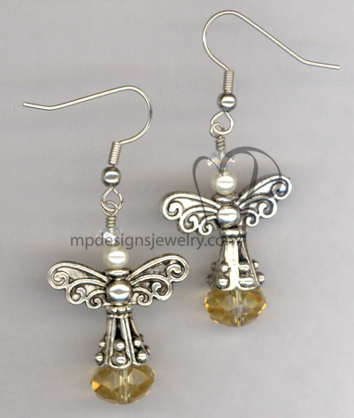 Angels Wings ~ Topaz Crystal Swaroski Crystal Pearl Silver Earrings