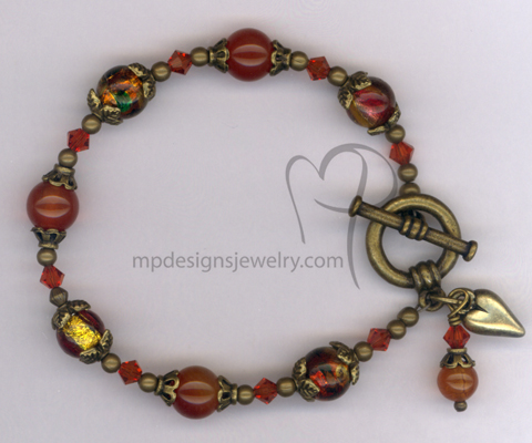 Indian Summer ~ Gemstone Dichroic Art Glass Swarovski Crystal Antiqued Gold heart Charm Bracelet