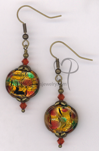 Indian Summer ~  Dichroic Art Glass Swarovski Crystal Antiqued Gold Earrings