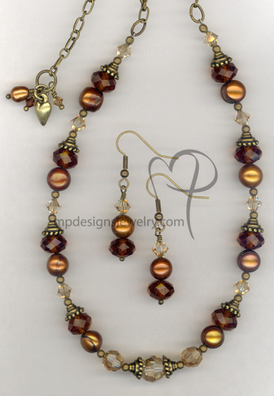 Melt My Heart  ~ Copper Pearl Swarovski Crystal Antiqued Gold Necklace Earrings Set
