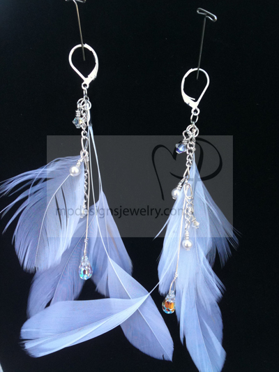 Bridal White Feather Crystal Earrings