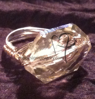 Crystal Chunky Bling! Wire-wrapped Ring