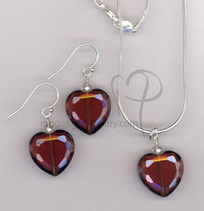 Love Me Forever  ~ Merlot Red Crystal Hear Sterling Silver Necklace Earring Set
