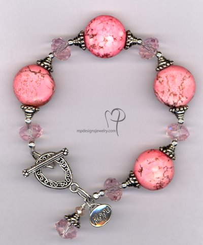 Hope in Pink~Turquoise Crystal Silver Plated Bracelet