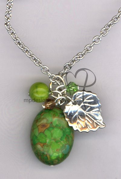 Autumn Splendor ~ Mosaic Turquoise Swarovski Crystal Leaf Silver Plated Necklace