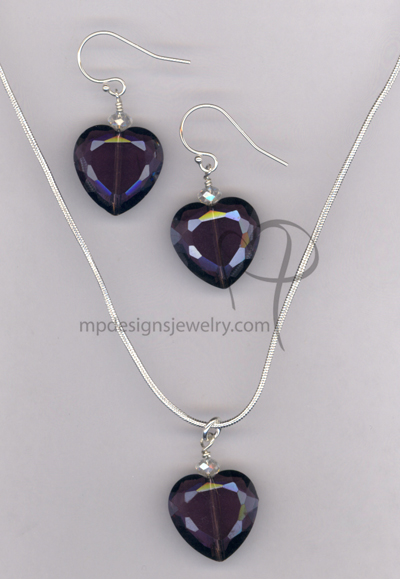Love Me Forever ~ Purple Crystal Heart Necklace Earrings Set
