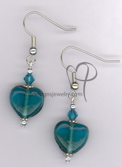 Whimsy Heart Blue ~ Swarovski Crystal Lampwork Silver Plated Hypo-allergenic Earrings