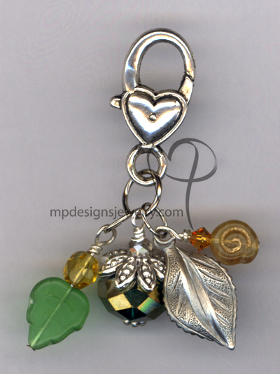 Falling Leaves Emerald Heart Purse Charm/Key Ring