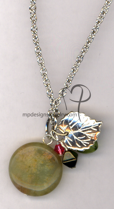 Seasons Change ~ Gemstone Swarovski Crystal Silver Leaf Charm Necklace