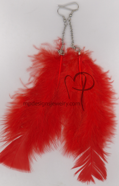 Red Feather Chain Earrings