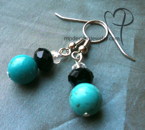 turquoise black crystal earrings
