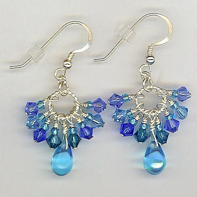 Cluster Crystal Earrings Blue