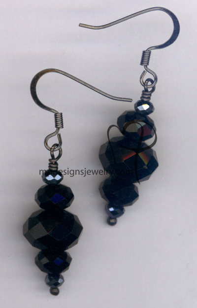 Black Crystal Stack Earrings