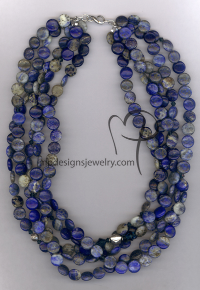 Blue Lapis Lazuli Gemstone Swarovski Crystal Multi-Strand Necklace