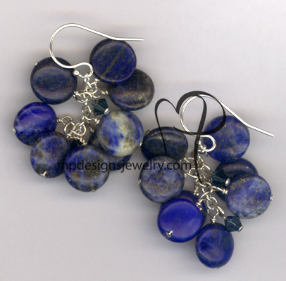 Blue Lapis Lazuli Cascade Cluster Earrings