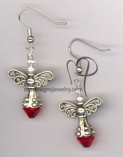 Angels Wings ~  Swarovski Light Siam Crystal White Pearl Earrings